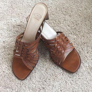 Brown Joan and David heeled sandals